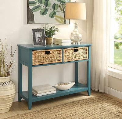 flavius teal console table