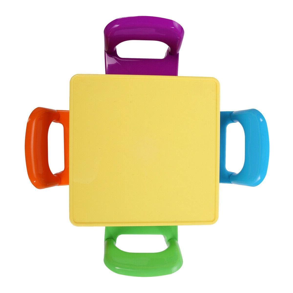 4 Chairs Rainbow Play Set Vibrant Colors