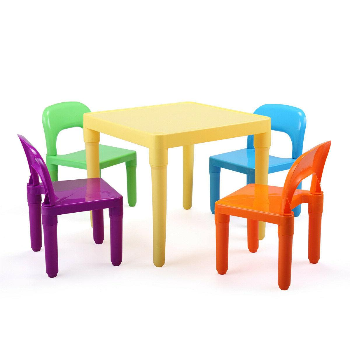 Kids Table 4 Chairs Play Set Colors