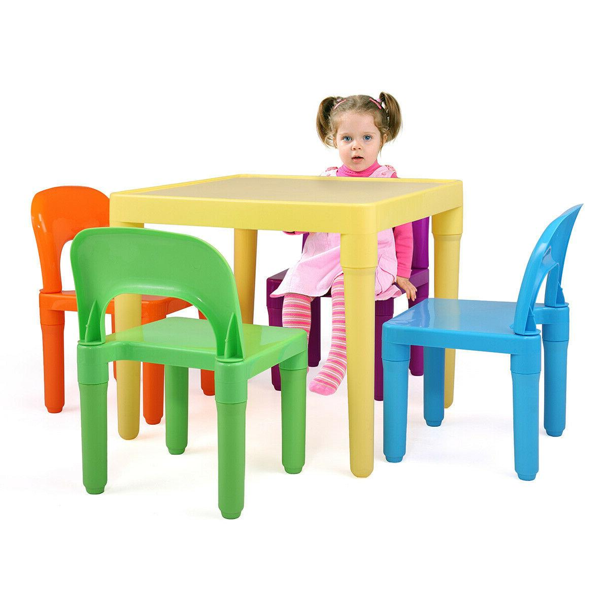 Kids Plastic Table and 4 Rainbow Play Colors