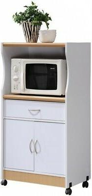 Hodedah Microwave Cart with One Drawer Two Doors and Shelf f