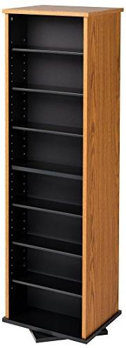 Prepac Two-Sided Spinning Tower Storage Cabinet, Oak and Bla