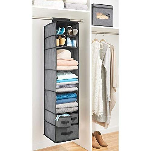 mDesign Soft Fabric Closet Rod Organizer 7 Shelves and 3 for T - Textured Print with Solid - Charcoal