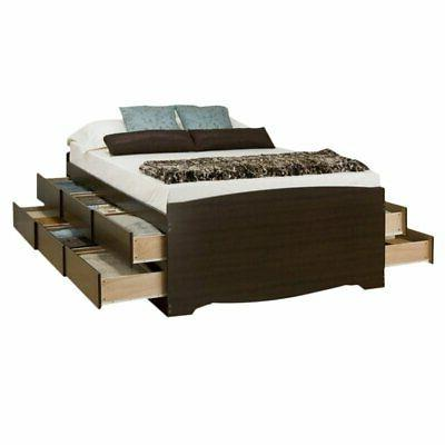 tall queen platform storage bed with drawer