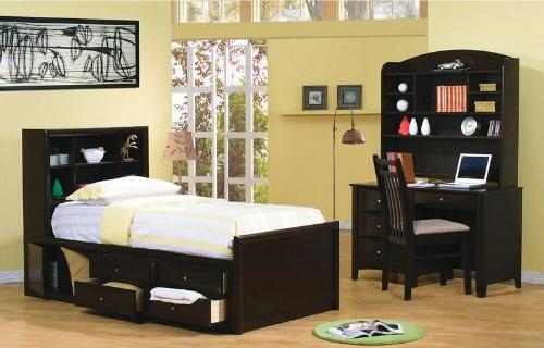 Twin Size Bookcase Chest Bed Finish