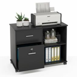 Mobile File Cabinet with 2 Drawers and Open Storage Shelves