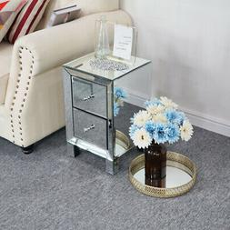 modern mirrored 2 drawers nightstand end table