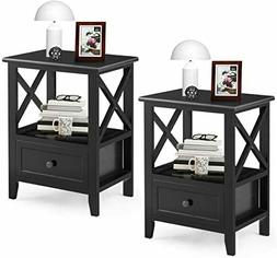 Giantex Nightstand Set of 2 Small End Tables W/Storage Shelf