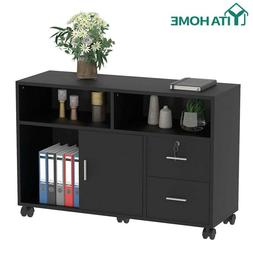 YITAHOME Office 2 Drawer File Cabinet Wood Storage Black Hom
