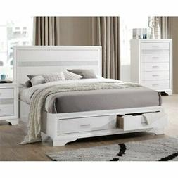 BOWERY HILL Queen Storage Panel Bed in White