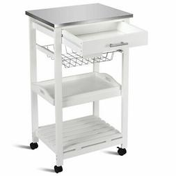 Rolling Kitchen Trolley Cart Stainless Steel Home W/Storage