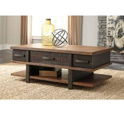 Rustic Lift Top Coffee Table Storage with Drawers Shelf Indu