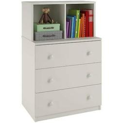 White 3-Drawer Dresser W/Cubbies  Laminated Particleboard Ho