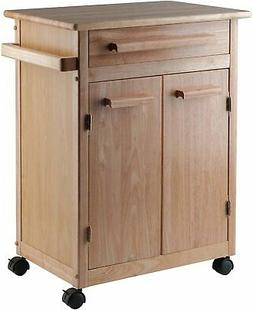Winsome Natural Wood Finish Mobile Kitchen Storage Serivce C